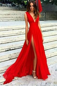 Split V-neckline Red Evening Dress,Slit Sexy Party Dresses.Red Formal Dress ,Deep V neck Evening Dress,Sleeveless Prom Dress,Chiffon Prom Dresses,2017 Prom Gowns