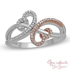 Express your love with this diamond fashion ring from Open Hearts by Jane Seymour™. Created in sterling silver and 10K rose gold, this ring marries polished and diamond-lined ribbons that loop into the iconic Open Hearts design at the center of the style. Radiant with 1/6 ct. t.w. of diamonds and polished to a brilliant shine, this ring is a look she'll treasure. This ring is available in size 7 only. Sterling silver rings cannot be resized after purchase.