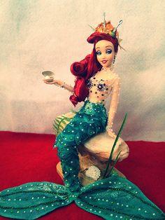 My ooak custom disney store Ariel doll Disney Barbie Dolls, Ariel Doll, Disney Princess Dolls, Little Mermaid Doll, Mermaid Barbie, Vintage Barbie, Vintage Dolls, Disney Princesses As Mermaids, Rapunzel