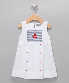Take a look at this White & Navy Stripe Sailboat Star Dress - Infant by Petit Confection on #zulily today!