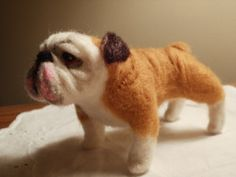 OMG, I love English Bull Dogs!!  Artist Needle Felted Bulldog Sculpture Dog  Sweetie by JulieAnne of Lacharmour on Etsy