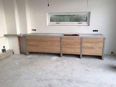Oak and Concrete Kitchen