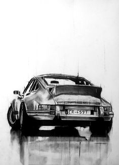 charcoal drawing on paper of a vintage porsche 911 Porsche 911 Cabriolet, Porsche 911 Targa, Porsche Carrera, Porsche Logo, Porsche Girl, Porsche 911 Classic, Porsche Sports Car, Charcoal Sketch, Charcoal Drawing