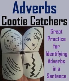 These adverbs cootie catchers are a great way for students to have fun while improving their ability to identify adverbs within sentences. How to Play and Assembly Instructions are included.This activity has students reading various sentences to each other, 16 in total, and then asked to identify the adverb.