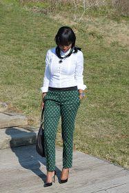 Prissysavvy: Emerald Love: Jacquard pants + White Button Down