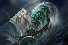 Sea Linnorm attacks vikings by TARGETE.deviantart.com on @deviantART