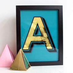 Alex May Hughes :: Matte Gold Leaf Initial Letter Sign