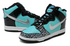 High Tops For Girls | SB Dunk Girls Nike High Tops Shoes Tiffany Custom Black Metallic ...