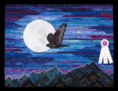 3rd Place, Category 9, Wall Quilts,Machine Quilted - Pictorial: Night Hunter, Cathy Geier, Waukesha, Wis., www.quitexpo.com