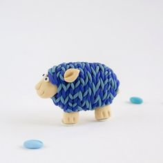 Sheep Brooch - Fun animal jewelry - Knitted sheep in blue - Fun gift for knitters - Summer jewelry
