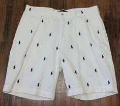 Polo Ralph Lauren Multi Pony Prospect Shorts Men's 34 white cotton, blue ponies #PoloRalphLauren #CasualShorts