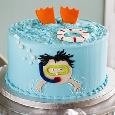 A snorkel cake that's perfect for a pool party! Cake # 050.