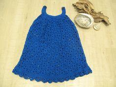 Ocean Blue Sundress by Serendipity Girls Designer Dresses for Age 4 Hand Crochet, Crochet Top, Little Girl Dresses, Girls Dresses, Girls Designer Dresses, Scalloped Hem, Serendipity, Ocean