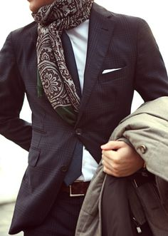 Great suit, nice paisley scarf.