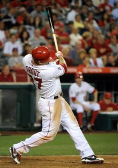 """Mike Trout goes yard"" - out to General Seating Deck @ Oakland A's Stadium on Sunday, per the request of FAVORITE FAN & ⚾ player for California's OALL Minors Divison (Orcutt American Little League)*** Mr. Best Baseball Player, Better Baseball, Sports Baseball, Sports Teams, Angels Baseball, Baseball Pictures, Mike Trout, San Diego Padres, Love Pictures"