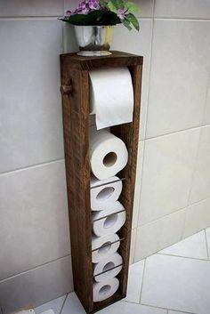 Soporte de papel higiénico Soporte de papel higiénico de la | Etsy Diy Bathroom, Bathroom Toilets, Bathroom Storage, Small Bathroom, Bathroom Ideas, Bathroom Makeovers, Rental Bathroom, Bathroom Vintage, Rustic Bathroom Decor