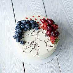 Love Cake, Cute Food, Food Design, Happy Valentines Day, Acai Bowl, Panna Cotta, Cake Decorating, Birthday Cake, Birthday Ideas