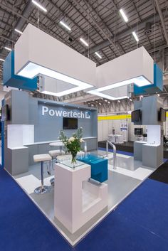 Powertech Stand we designed for the PowerGen Conference  #oblongarchitecture #standdesign #blueandwhite