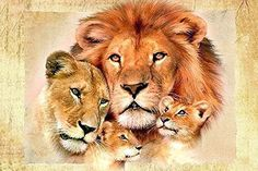 Uto_Art Lion Family Diamond Painting Cross Stitch Full Diamond Embroidery Europe Home Decoration Square Drill Animal Series (2030 cm) -- Check this awesome item by going to the link at the image.