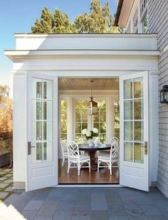 Sunroom with French Doors. Lovely Sunroom with French Doors. Sunroom Addition, Family Room Addition, Coastal Homes, Coastal Decor, Outdoor Dining, Dining Area, Indoor Outdoor, Outdoor Rooms, My Dream Home
