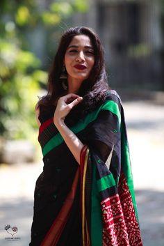 Black Irkal Cotton Kaleidoscope Saree
