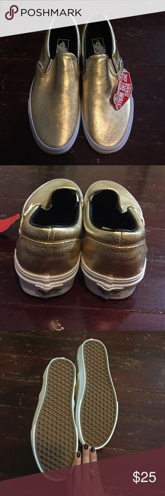 Never worn! NWT vans slip ons size 9 (women's) Gold metallic vans slip ons size 9 (womens) 7.5 (men's). Never worn. NWT. vans Shoes Sneakers