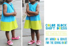 Free #sewing Pattern - Colorblock Shift Dress - with tutorial!