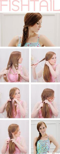 How To Fishtail Braid!  Step 1. Detangle and brush out your hair so it's easy to handle.You don't have to have stick straight locks to rock this look, just keep things knot-free! Divide the hair into two even sections starting from the middle of the scalp.  Step 2. You can begin braiding from either side, but I like starting from the right. Use your pinky and ring finger to grab a small section of the hair from the back of the right side. Add this section to the left
