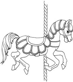 An assortment of free carousel horse printables.