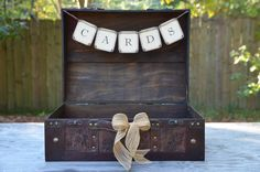 Suitcase Card Box, Rustic Suitcase Card Holder, Rustic Wedding Trunk. $70.00, via Etsy.