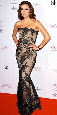 Look of the Day › September 21, 2010 WHAT SHE WORE Longoria Parker brought Old Hollywood elegance to the Par Coeur Gala in Paris sporting a nude gown with a lace overlay.