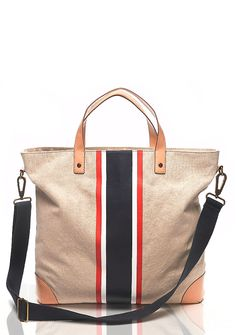 Stripes canvas tote. I want to try to make this.