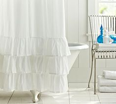 Ruffle Shower Curtain #potterybarn