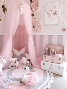 Magical fairytale bedroom inspo This beautiful whimsical nursery was designed by pretty things. Little Girl Bedrooms, Pink Bedroom For Girls, Baby Bedroom, Baby Room Decor, Playroom Decor, Girls Fairy Bedroom, Swan Nursery Decor, Pastel Girls Room, Girls Canopy