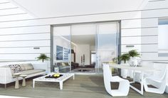 Interior Design, Outdoor White Coffee Table Chairs Flower Vase Light Brown Wooden Floor Glass Sliding Door Sofa Potted Plants And Cushion ~ Stunning Airy Interior with Bright Impression and Stylish Detail