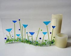 Fused glass meadow wave, blue flower panel, candle stand, stained glass art, gift for her, Mother's Day Mum Grandma Easter gift
