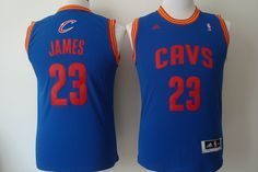 Youth Adidas NBA Cleveland Cavaliers 23 Lebron James New Rev30 Blue Kids Jersey