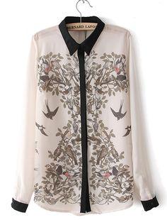 Beige Long Sleeve Birds Print Chiffon Blouse - Sheinside.com