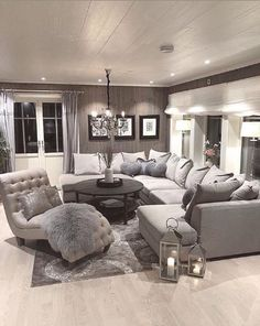 30 Charming Lighting Living Room Tips - Home Interior Design Living Room Decor Cozy, Elegant Living Room, Living Room Seating, Living Room Grey, Living Room Lighting, Home Living Room, Apartment Living, Living Room Designs, Sectional Living Rooms