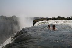 Devil's Pool: Swimming on the Edge of the Victoria Falls (on the border of Zambia and Zimbabwe)