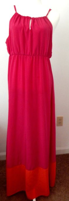 Old Navy Womens Size XLarge XL Maxi Dress Color Block Pink and Orange Cute Sexy  #OldNavy #Maxi #Casual