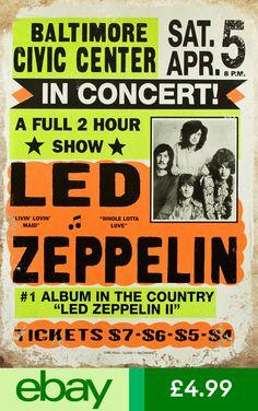 """Led Zeppelin in Concert"" - Vintage Retro Music Concert Poster for Sale – Such A Poster Led Zeppelin Tattoo, Led Zeppelin Poster, Led Zeppelin Concert, Led Zeppelin Ii, Vintage Concert Posters, Vintage Advertising Posters, Vintage Travel Posters, Vintage Advertisements, Concert Posters"