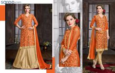 ORANGE BANGALORE SILK SUIT WITH EMBROIDERY WORK
