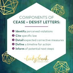 Cease & Desist letters are communications sent from an aggrieved party to an offender, demanding that the offender stop activity which the aggrieved party deems to be a violation of their rights. Here's my formula for how to write and send a C&D.