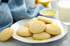 Whipped shortbread cookies are so light and fluffy in texture and taste. They are a classic holiday cookie, usually flavored with vanilla or almond extract and a few holiday sprinkles added on top. However, with this light and refreshing twist of adding lemon zest, these Lemon Whipped Shortbreads are ready for a party any time of year. Whipped Shortbread Cookies, Easy Peanut Butter Cookies, Homemade Peanut Butter, Lemon Cookies, Oatmeal Chocolate Chip Cookies, Delicious Cookie Recipes, Snack Recipes, Dessert Recipes, Dessert Ideas