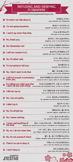 Educational infographic & data visualisation Infographic: Japanese phrases for refusing and denying. Infographic Description Infographic: Japanese phrases for refusing and denying. Kanji Japanese, Japanese Quotes, Japanese Phrases, Study Japanese, Japanese Culture, Learning Japanese, Learning Italian, Japanese Grammar, Japanese Language Lessons