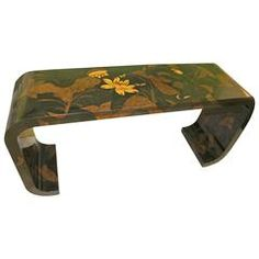 Vintage Hollywood Regency Maitland-Smith Console Table Asian Ming Scroll
