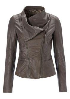 Wyona Leather Jacket - Taupe