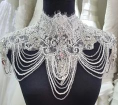Luxury Bridal Jacket Beaded Bridal Shoulder Necklace Lace With Crystals Shoulder Chain Wedding Jewelry jacket