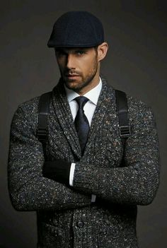 Charcoal Grey 'Tweed' Knit Cardigan, and Black Wool Driving Cap. Men's Fall Winter Fashion.// SPEAK WITHOUT SAYING A WORD!